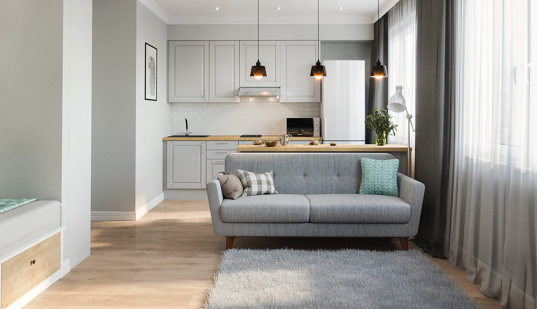 Как совместить спальню и гостиную в однокомнатной квартире
