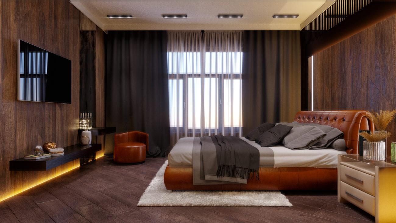 Интерьер спальни, стиль минимал, естественное освещение