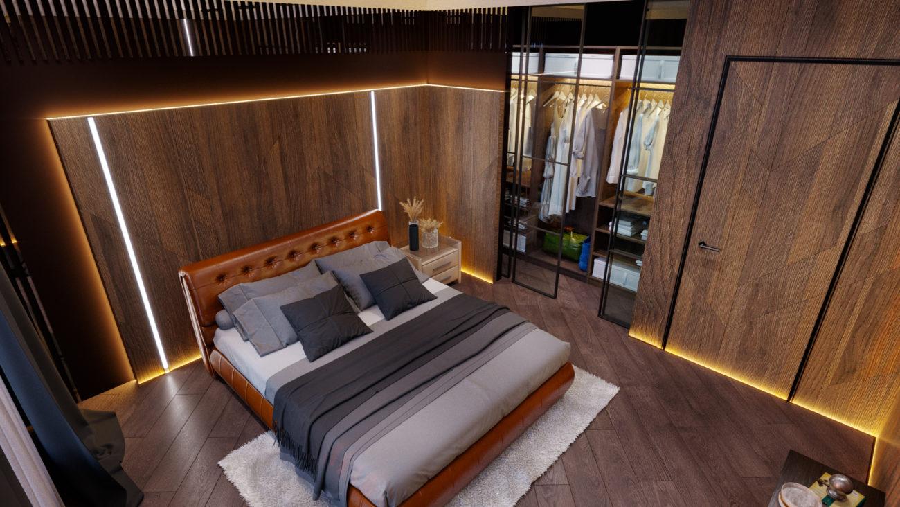 Интерьер спальни, освещение спальни