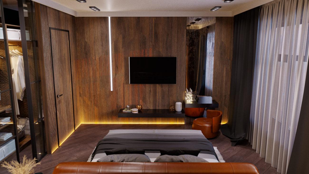Интерьер спальни, стиль минимал