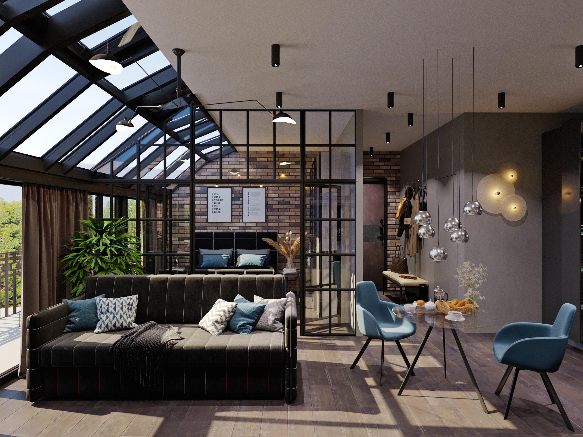 Функциональный дизайн для квартиры-студии, проект «Sienna»