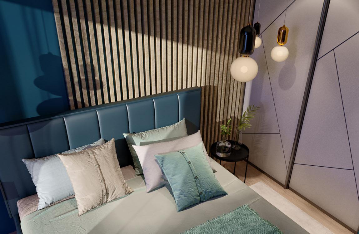 синяя кровать, постельное белье