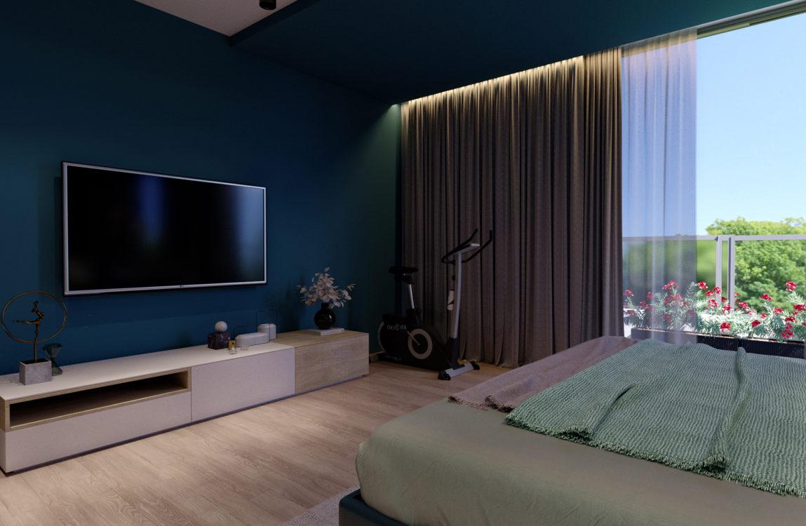 Интерьер спальни, тренажер, телевизор, панорамное остекление