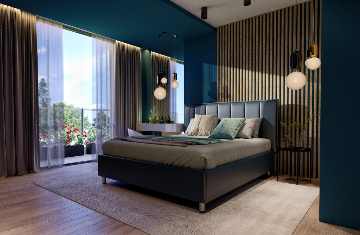 Интерьер спальни, панорамное остекление